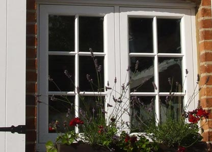 White uPVC sash window