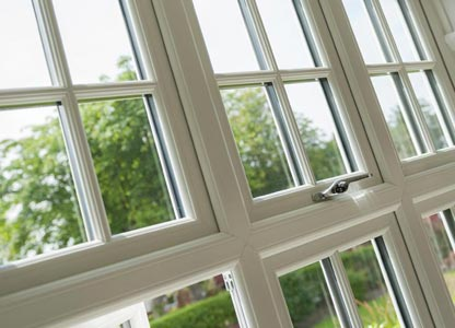 Timber look flush sash window