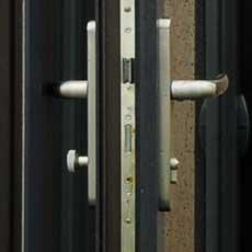 Multi-point lock on uPVC slide and swing door
