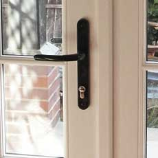 A close up of our timber french door supplied with high security lock
