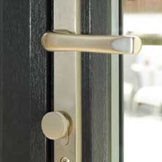 High security locking system and durable handle on uPVC slide and swing door