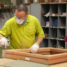 A timber window being manufactured ready to be supplied to the installer